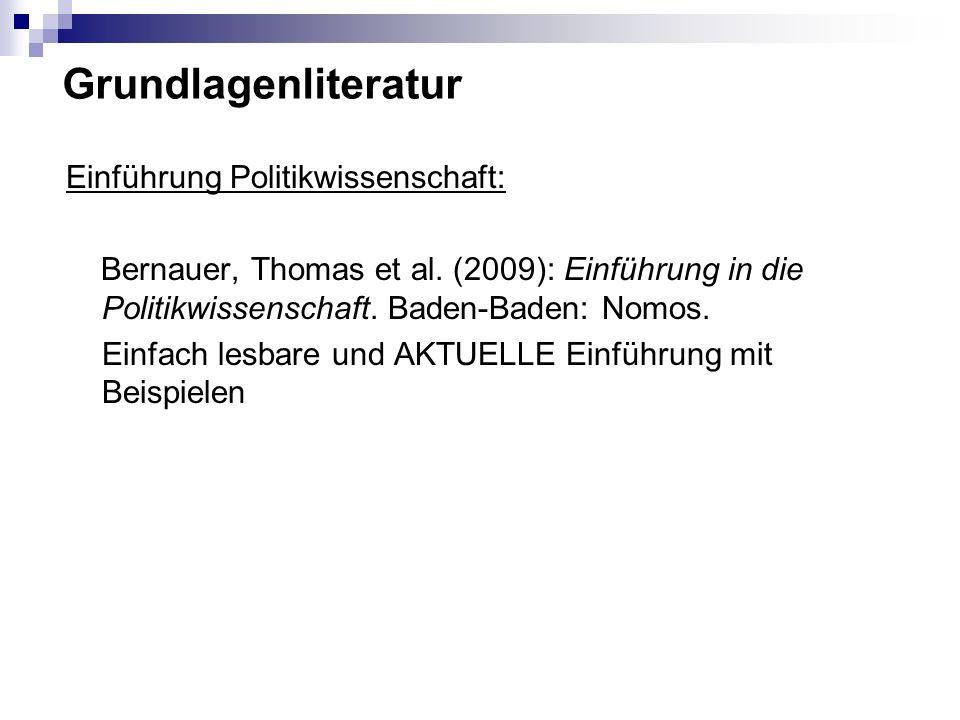 Grundlagenliteratur Einführung Politikwissenschaft: Bernauer, Thomas et al. (2009): Einführung in die Politikwissenschaft. Baden-Baden: Nomos. Einfach
