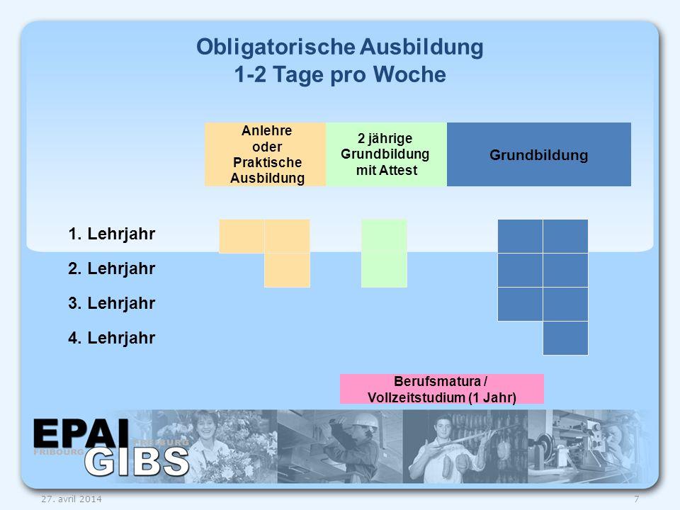Fakultativer Unterricht StützkursFreifächer 1.Lehrjahr 2.