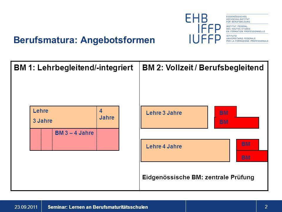 23.09.2011 3 Seminar: Lernen an Berufsmaturitätsschulen Verschiebung von BM 1 zu BM 2 Der Anteil von Abschlüssen verschiebt sich von der BM 1 zur BM 2