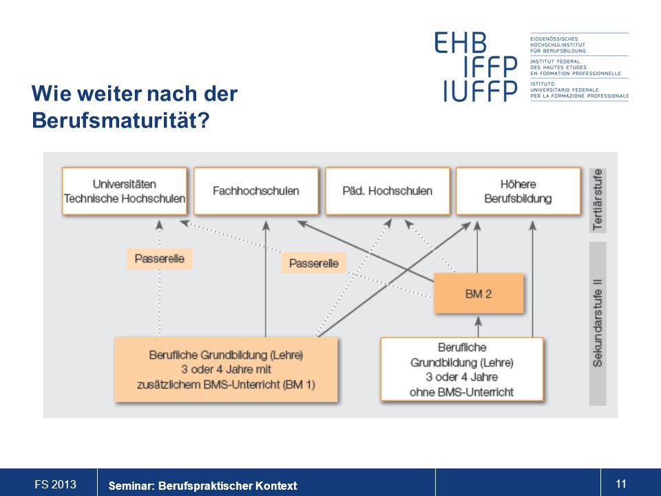 FS 2013 11 Seminar: Berufspraktischer Kontext Wie weiter nach der Berufsmaturität?