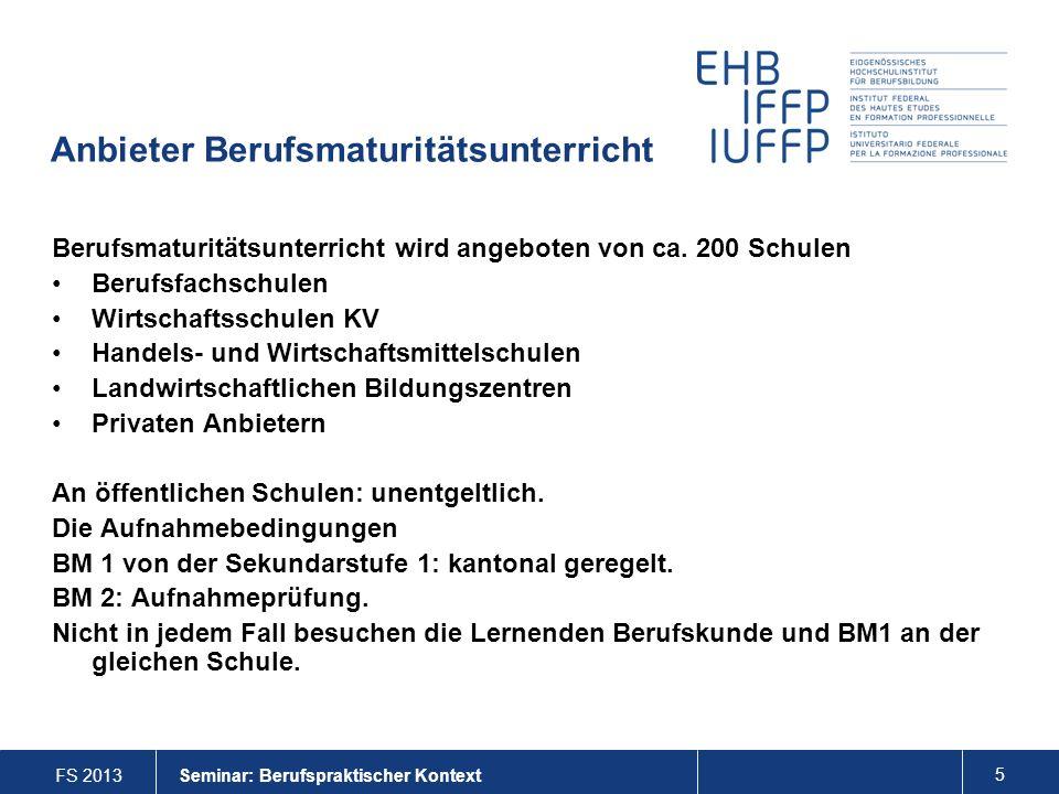 FS 2013 6 Seminar: Berufspraktischer Kontext Aus welchen Berufen kommen BM- Lernende.