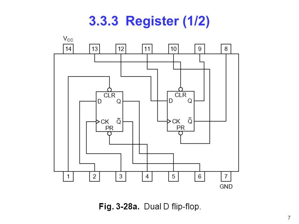 7 3.3.3 Register (1/2) Fig. 3-28a. Dual D flip-flop.