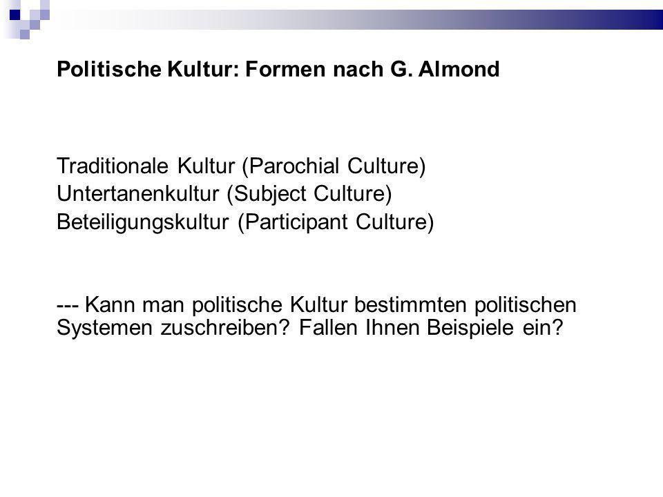 Politische Kultur: Formen nach G.