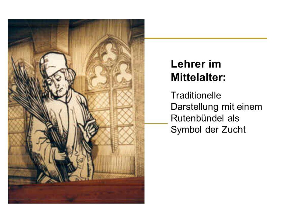Lehrer im Mittelalter: Traditionelle Darstellung mit einem Rutenbündel als Symbol der Zucht