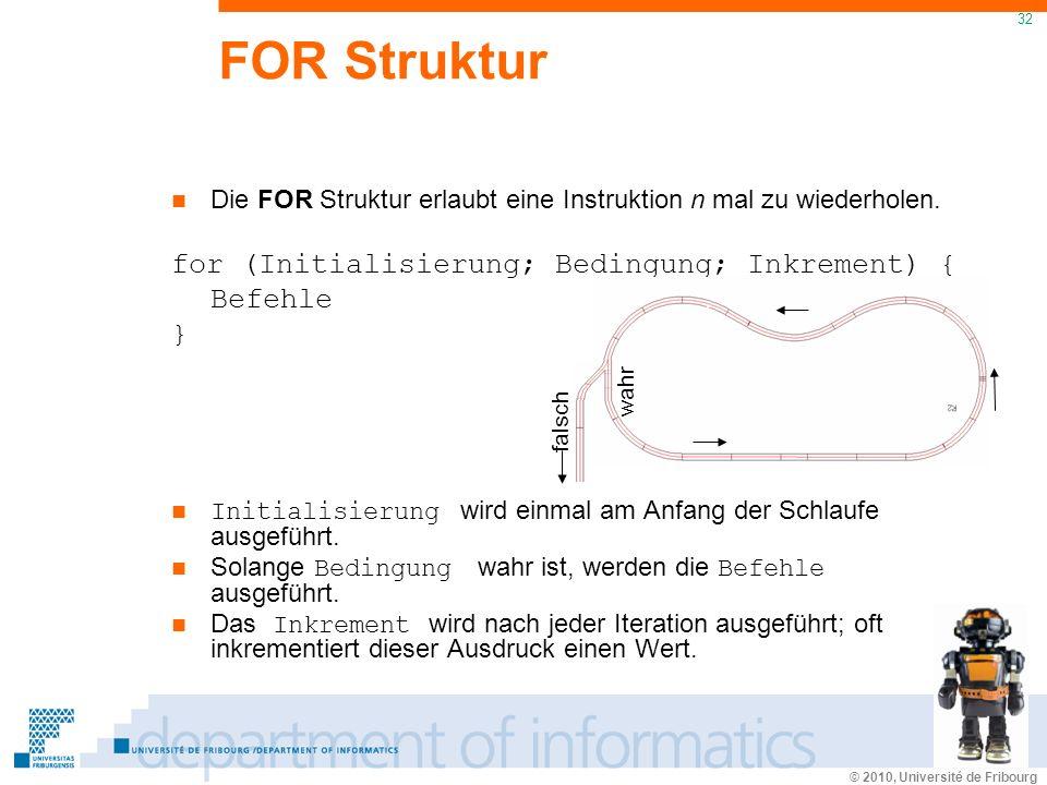 © 2010, Université de Fribourg 32 FOR Struktur Die FOR Struktur erlaubt eine Instruktion n mal zu wiederholen.