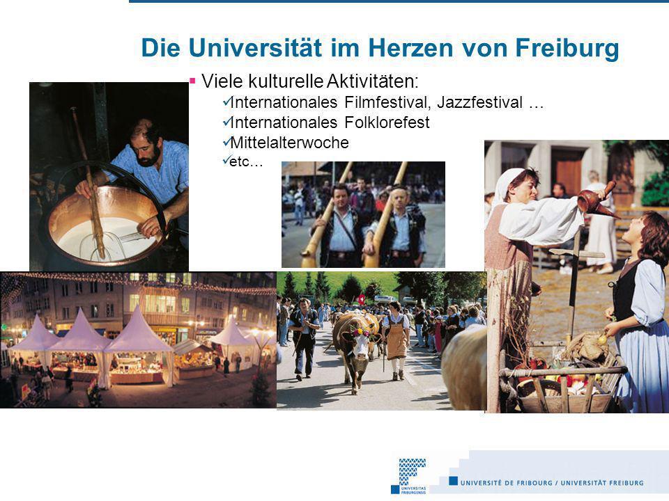 Die Universität im Herzen von Freiburg Viele kulturelle Aktivitäten: Internationales Filmfestival, Jazzfestival … Internationales Folklorefest Mittelalterwoche etc…