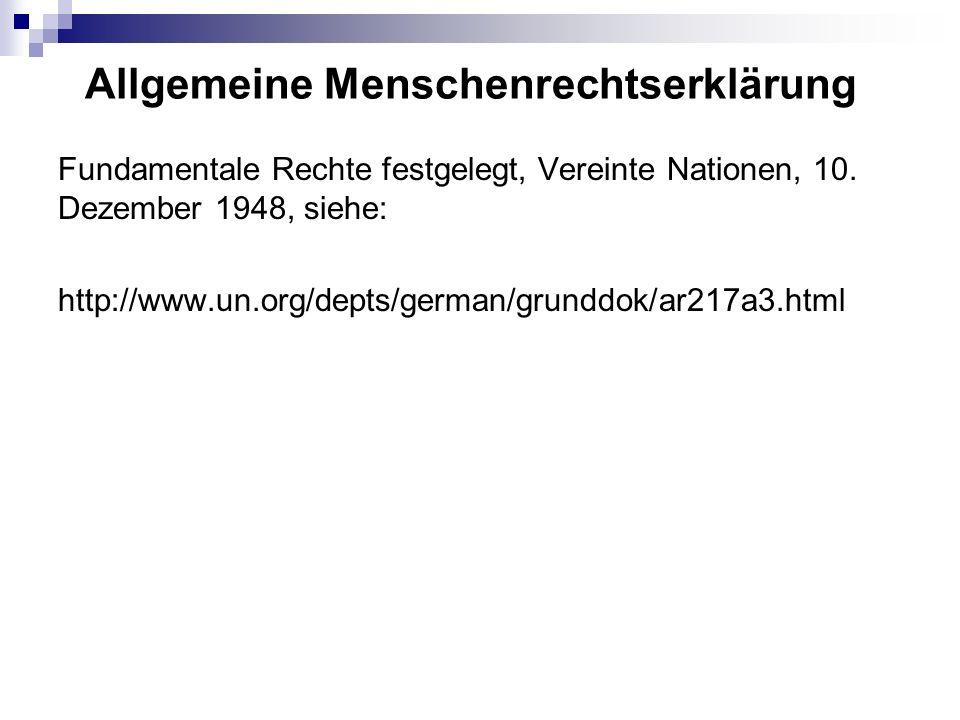 Allgemeine Menschenrechtserklärung Fundamentale Rechte festgelegt, Vereinte Nationen, 10.