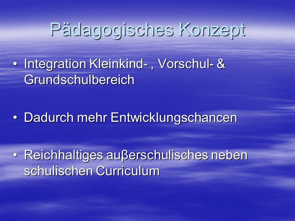 Pädagogisches Konzept Integration Kleinkind-, Vorschul- & GrundschulbereichIntegration Kleinkind-, Vorschul- & Grundschulbereich Dadurch mehr EntwicklungschancenDadurch mehr Entwicklungschancen Reichhaltiges auβerschulisches neben schulischen CurriculumReichhaltiges auβerschulisches neben schulischen Curriculum