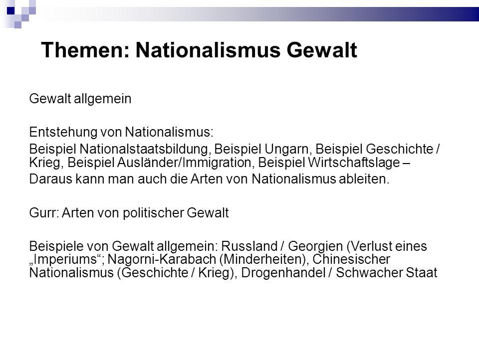 Themen: Nationalismus Gewalt Gewalt allgemein Entstehung von Nationalismus: Beispiel Nationalstaatsbildung, Beispiel Ungarn, Beispiel Geschichte / Kri