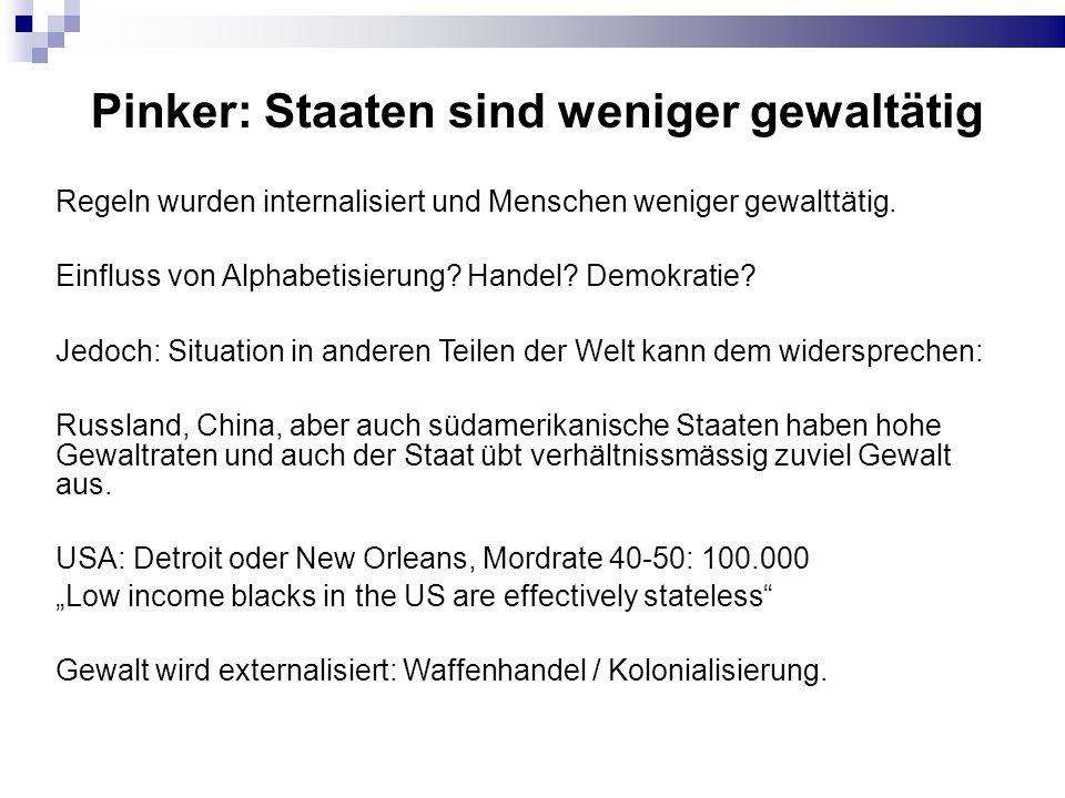 Pinker: Staaten sind weniger gewaltätig Regeln wurden internalisiert und Menschen weniger gewalttätig. Einfluss von Alphabetisierung? Handel? Demokrat