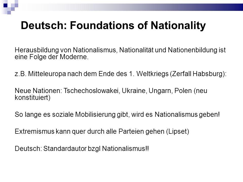 Problematik von Nationalstaaten Verspätete Nationalstaaten in Mitteleuropa vs.
