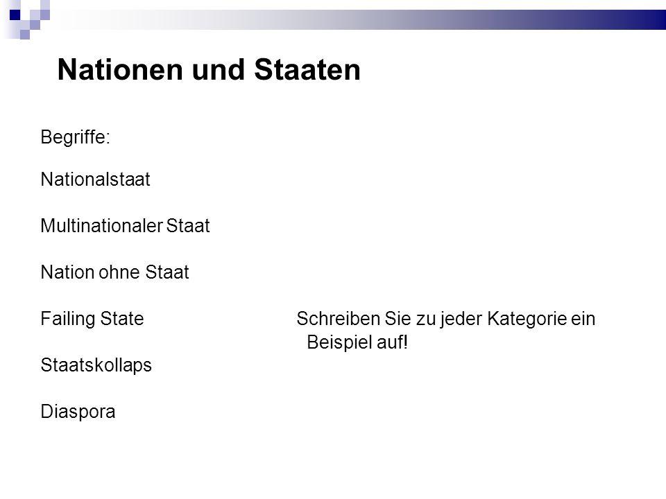 Nationen und Staaten Begriffe: Nationalstaat Multinationaler Staat Nation ohne Staat Failing State Schreiben Sie zu jeder Kategorie ein Beispiel auf!