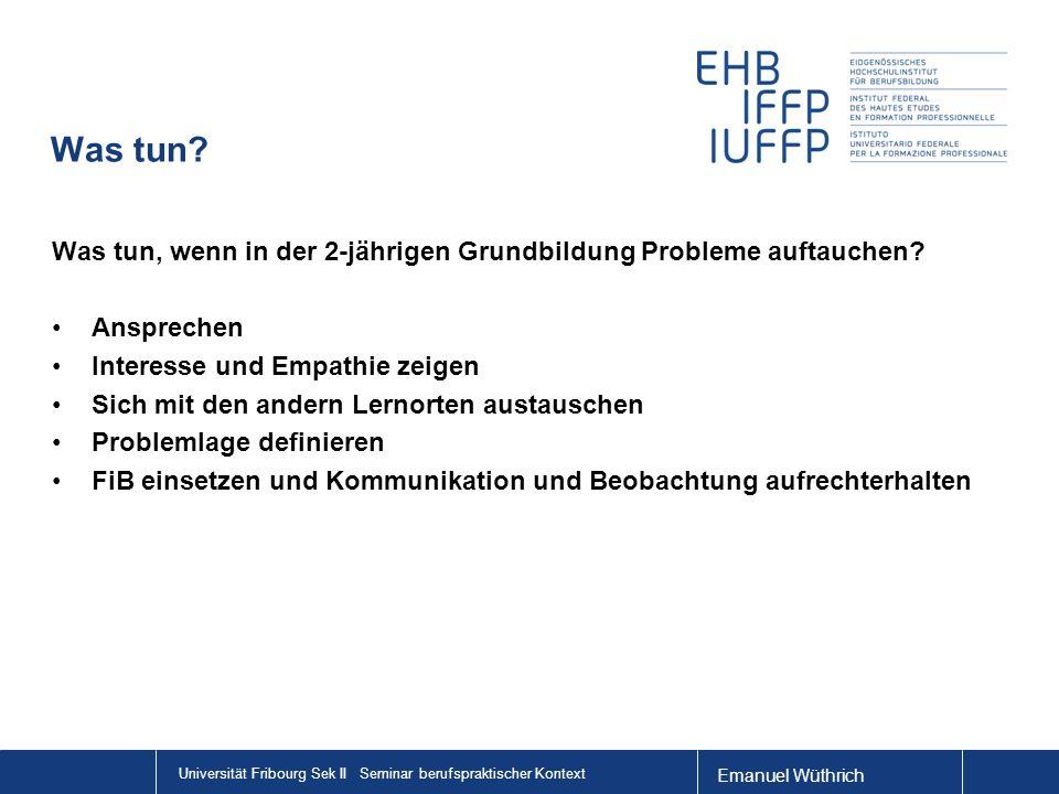 Emanuel Wüthrich Universität Fribourg Sek II Seminar berufspraktischer Kontext Was tun? Was tun, wenn in der 2-jährigen Grundbildung Probleme auftauch