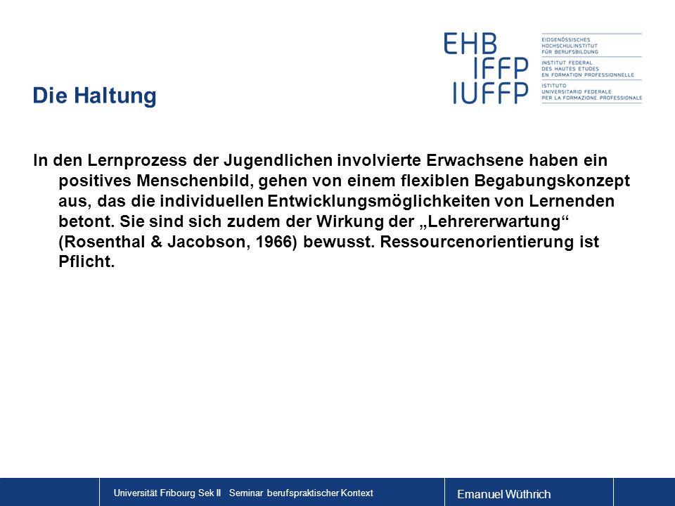 Emanuel Wüthrich Universität Fribourg Sek II Seminar berufspraktischer Kontext Die Haltung In den Lernprozess der Jugendlichen involvierte Erwachsene