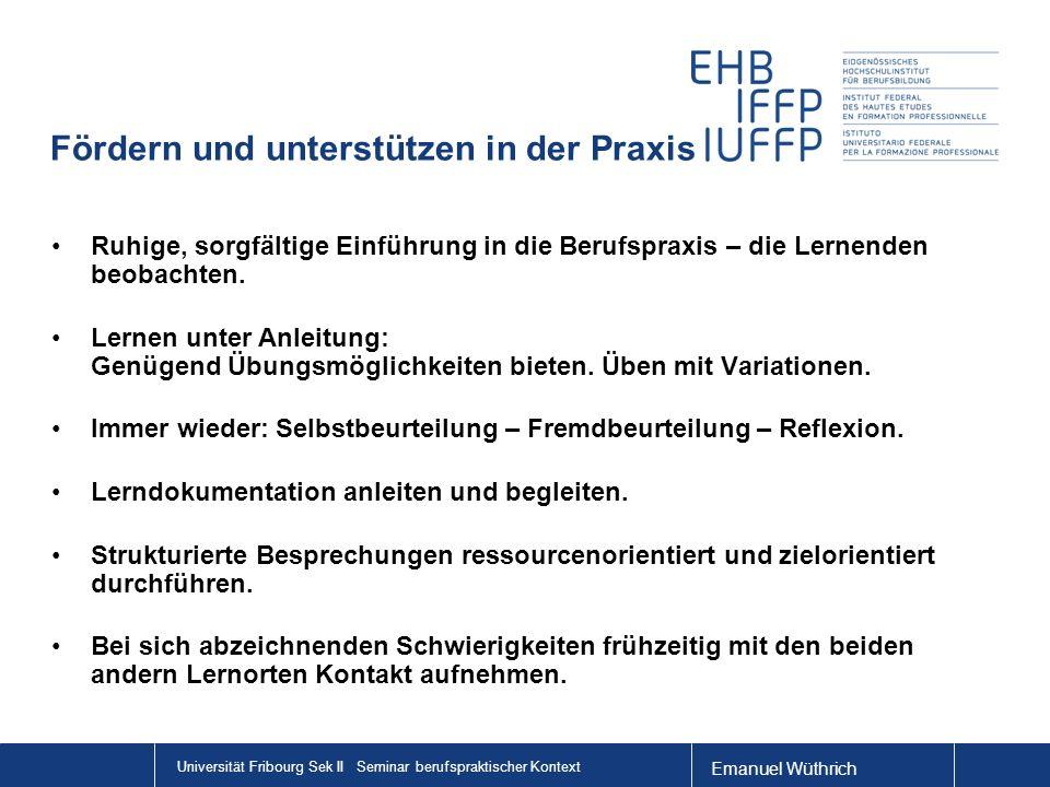 Emanuel Wüthrich Universität Fribourg Sek II Seminar berufspraktischer Kontext Fördern und unterstützen in der Praxis Ruhige, sorgfältige Einführung i