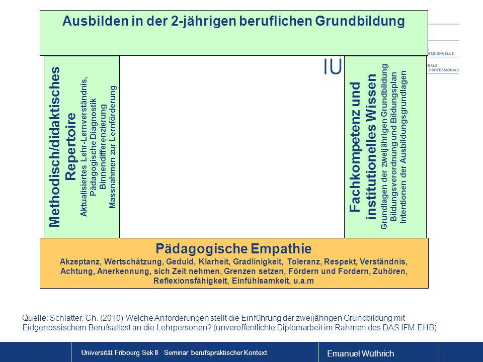 Emanuel Wüthrich Universität Fribourg Sek II Seminar berufspraktischer Kontext Pädagogische Empathie Akzeptanz, Wertschätzung, Geduld, Klarheit, Gradl