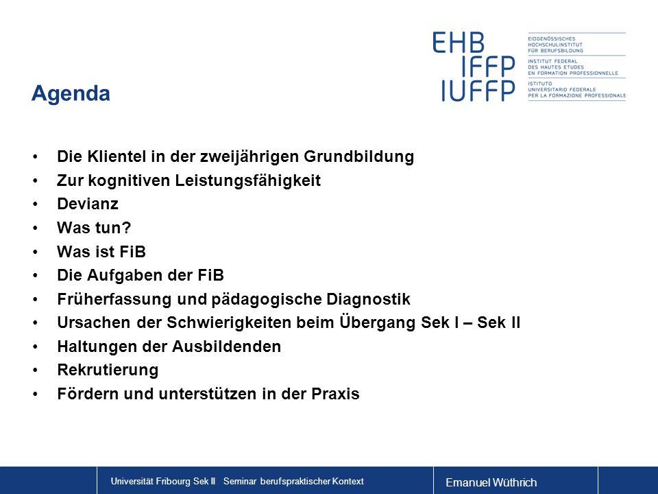 Emanuel Wüthrich Universität Fribourg Sek II Seminar berufspraktischer Kontext Agenda Die Klientel in der zweijährigen Grundbildung Zur kognitiven Lei