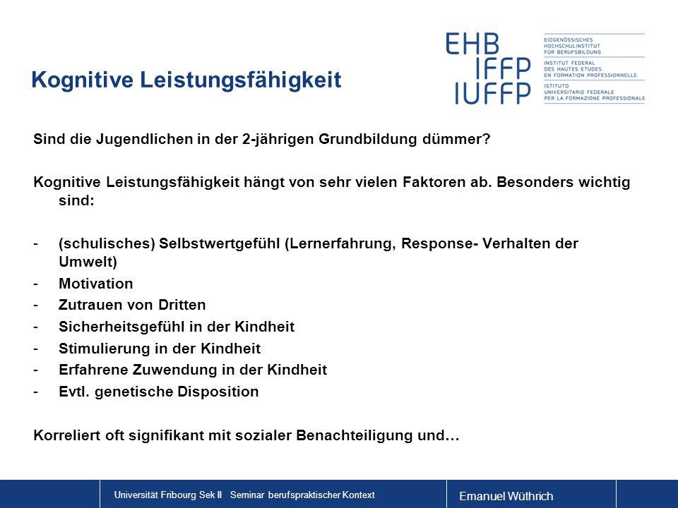 Emanuel Wüthrich Universität Fribourg Sek II Seminar berufspraktischer Kontext Kognitive Leistungsfähigkeit Sind die Jugendlichen in der 2-jährigen Gr
