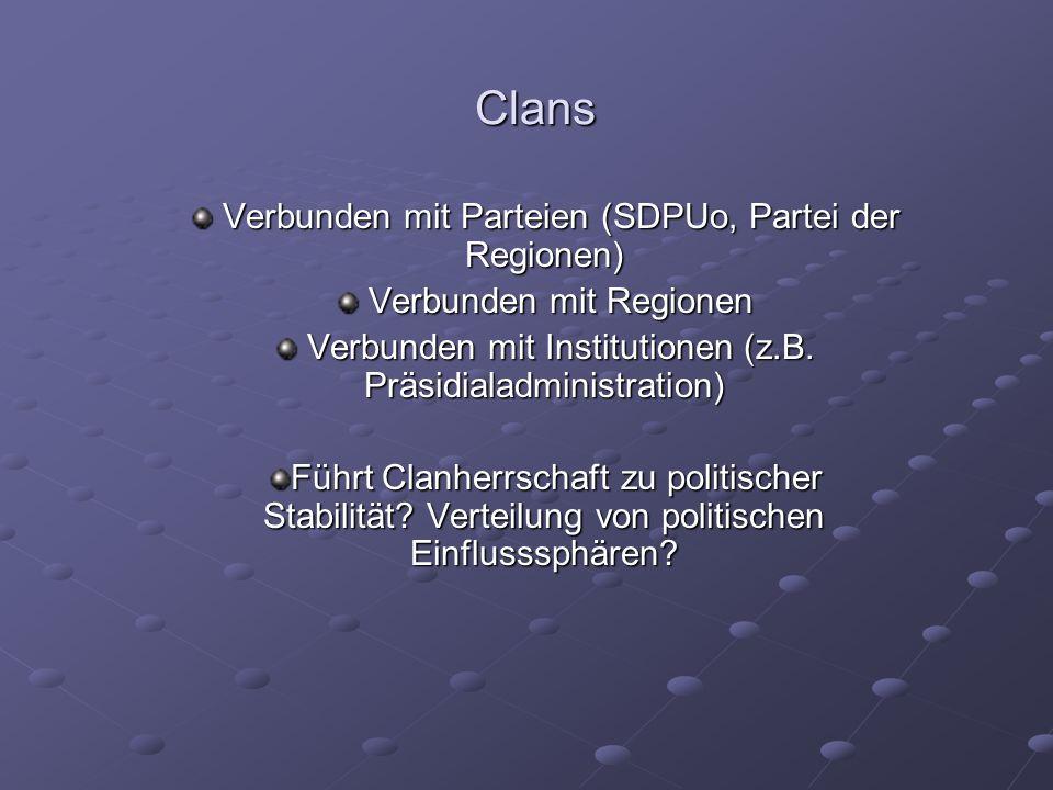 Clans Verbunden mit Parteien (SDPUo, Partei der Regionen) Verbunden mit Parteien (SDPUo, Partei der Regionen) Verbunden mit Regionen Verbunden mit Regionen Verbunden mit Institutionen (z.B.