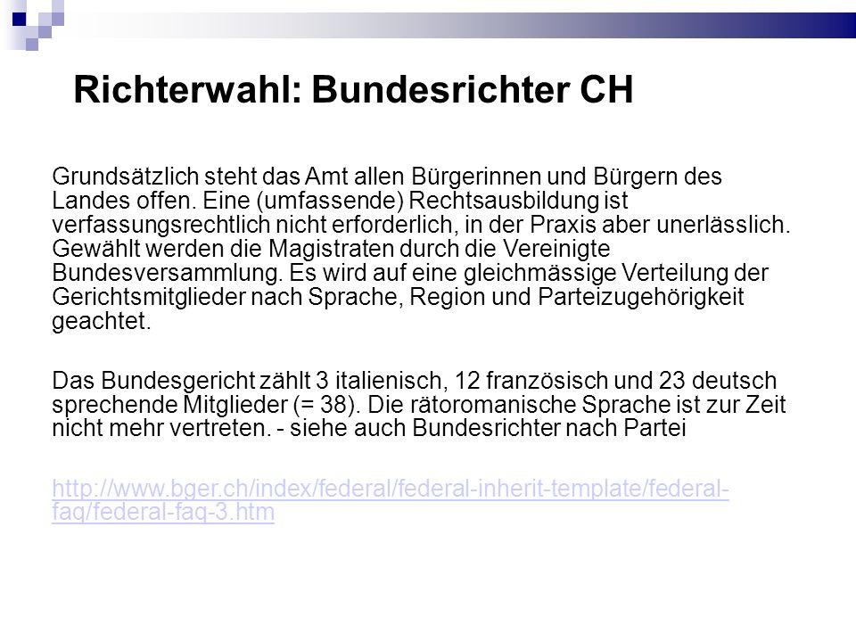 Bundesrichter nach Partei Die Schweizerische Volkspartei stellt zehn, die Sozialdemokratische Partei neun, die Christlichdemokratische Volkspartei acht, die FDP Schweiz sieben und die Grüne Partei vier Richter..