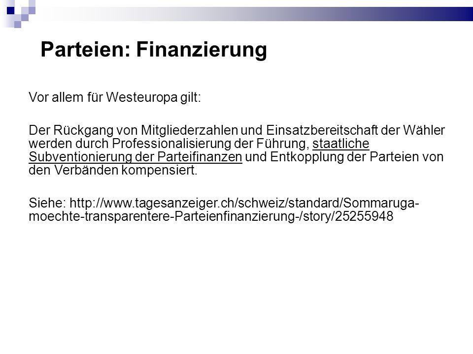 Parteien: Finanzierung CH Transparency International: Die Schweiz ist zusammen mit Schweden das einzige Land in Europa, das die Finanzierung von politischen Parteien und sonstigen wichtigen Akteuren in der Politik (insbesondere Wahl- und Abstimmungs- komitees) nicht verbindlich geregelt hat.