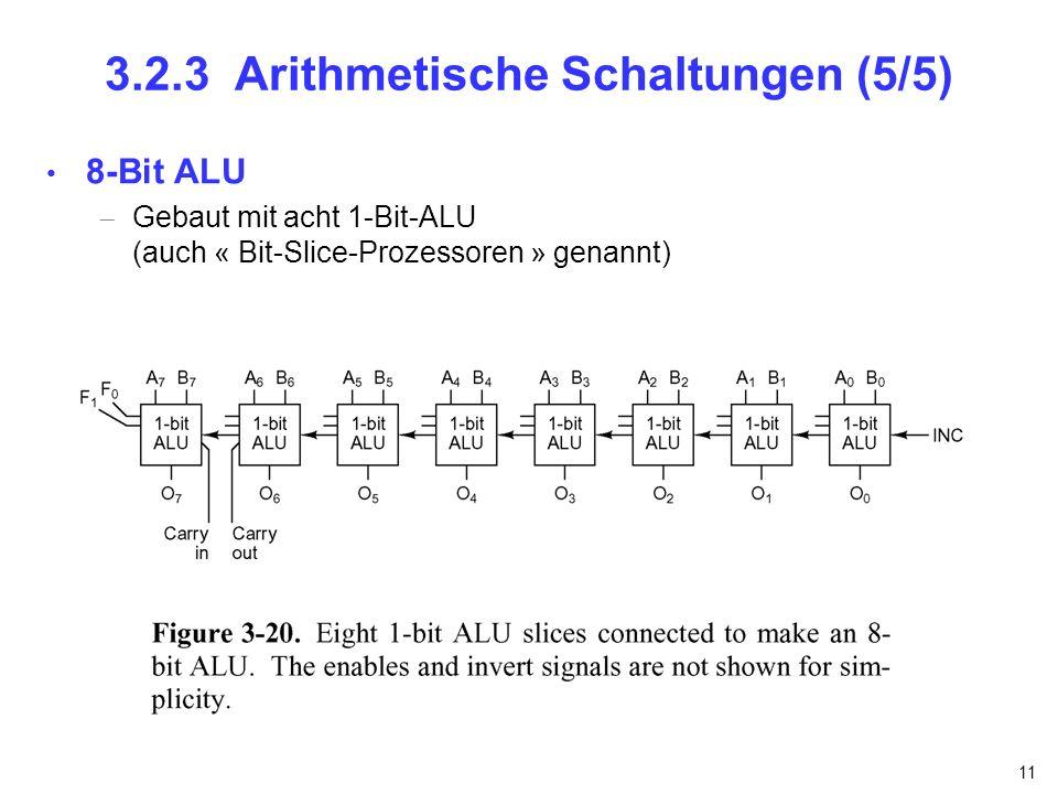 11 3.2.3 Arithmetische Schaltungen (5/5) 8-Bit ALU Gebaut mit acht 1-Bit-ALU (auch « Bit-Slice-Prozessoren » genannt)