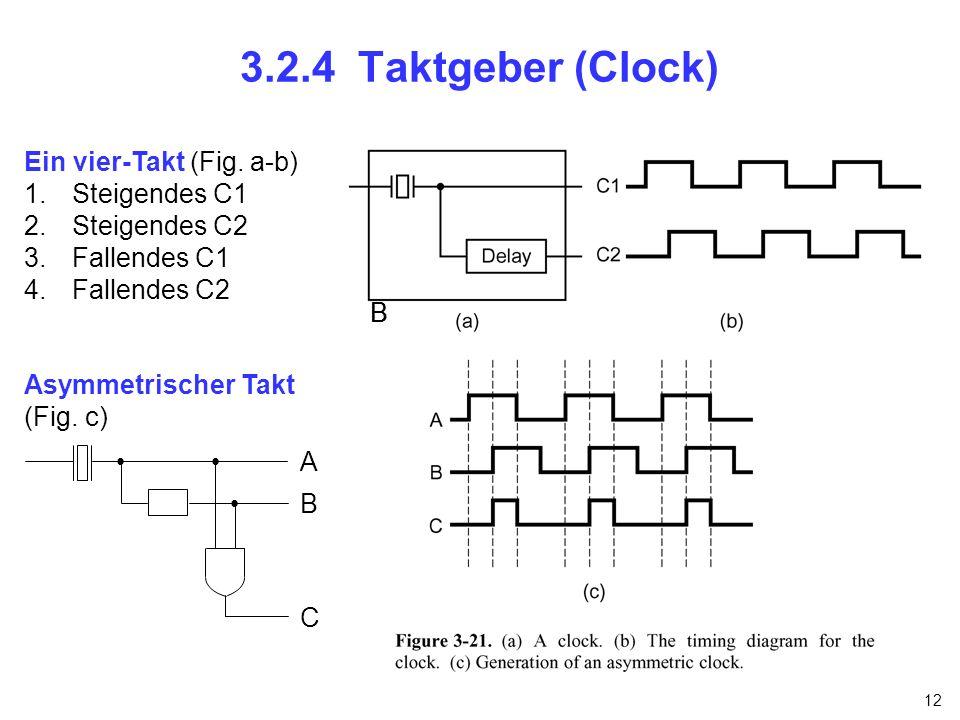 12 3.2.4 Taktgeber (Clock) Ein vier-Takt (Fig. a-b) 1.Steigendes C1 2.Steigendes C2 3.Fallendes C1 4.Fallendes C2 Asymmetrischer Takt (Fig. c) BB A B