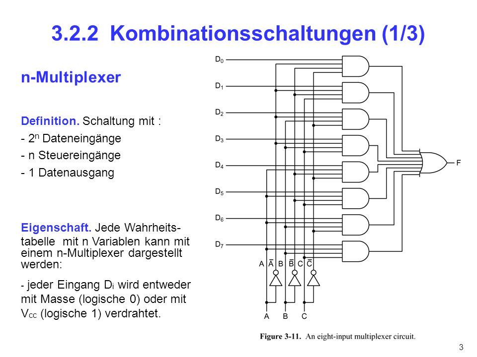 3 3.2.2 Kombinationsschaltungen (1/3) n-Multiplexer Definition. Schaltung mit : - 2 n Dateneingänge - n Steuereingänge - 1 Datenausgang Eigenschaft. J