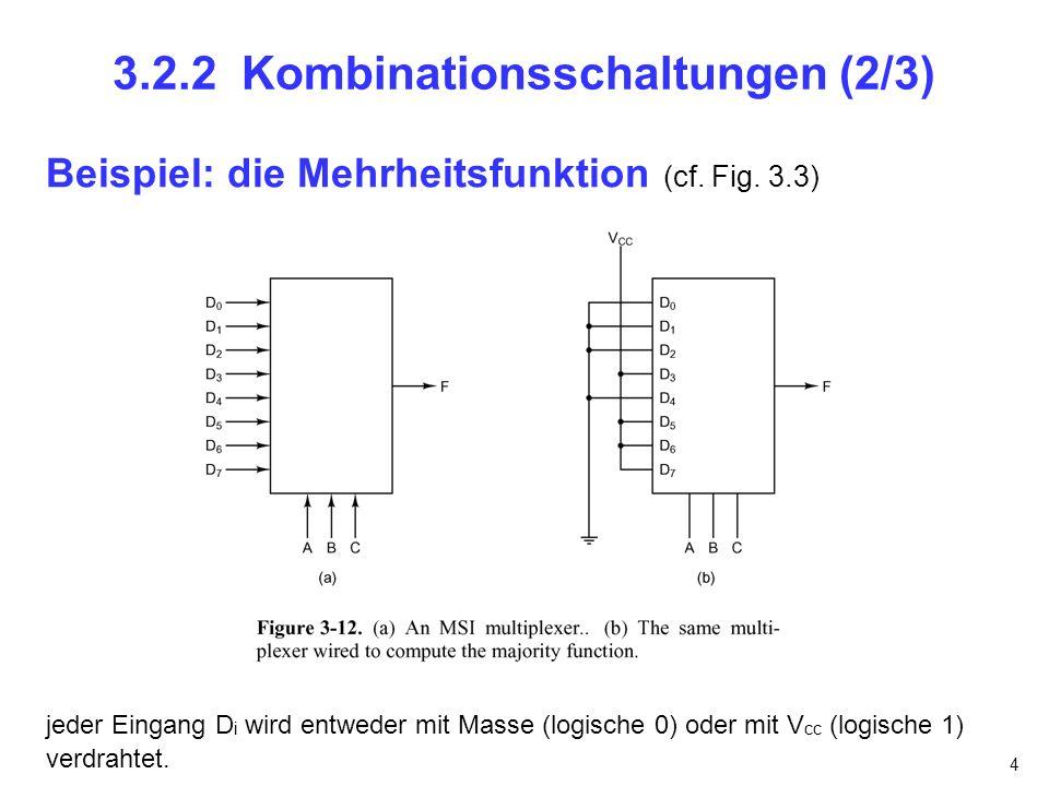 5 3.2.2 Kombinationsschaltungen (3/3) Demultiplexer 1 Eingangssignal, n Steuerleitungen, 2 n Ausgangsleitungen Ausgang k wird gewählt wenn der binärwert der Steuerleitungen k beträgt Dekodierer n Eingangssignale, 2 n Ausgangsleitungen Ausgang k wird gewählt wenn der binärwert der Eingangssignale k beträgt (cf.