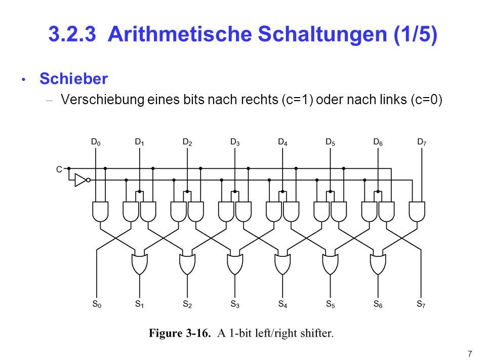7 3.2.3 Arithmetische Schaltungen (1/5) Schieber Verschiebung eines bits nach rechts (c=1) oder nach links (c=0)