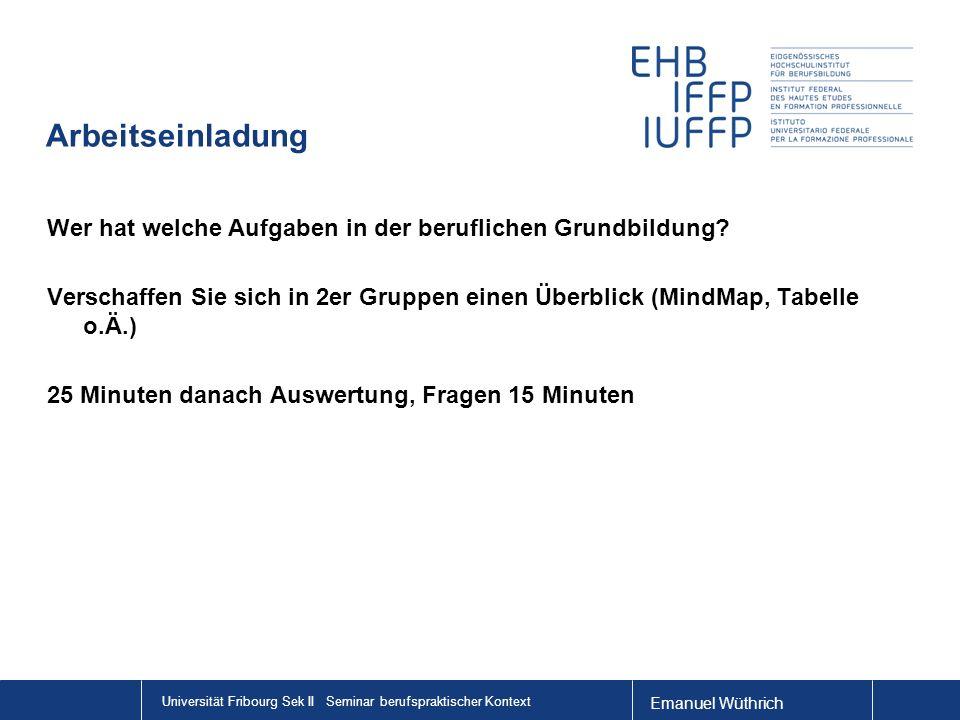 Emanuel Wüthrich Universität Fribourg Sek II Seminar berufspraktischer Kontext Arbeitseinladung Wer hat welche Aufgaben in der beruflichen Grundbildung.