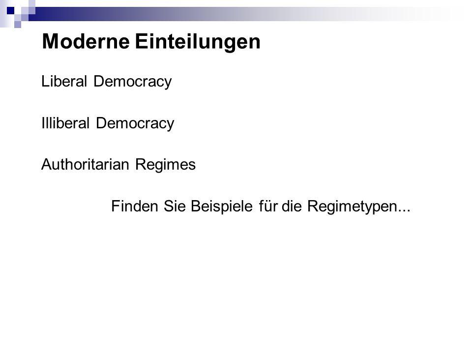 Moderne Einteilungen Liberal Democracy Illiberal Democracy Authoritarian Regimes Finden Sie Beispiele für die Regimetypen...