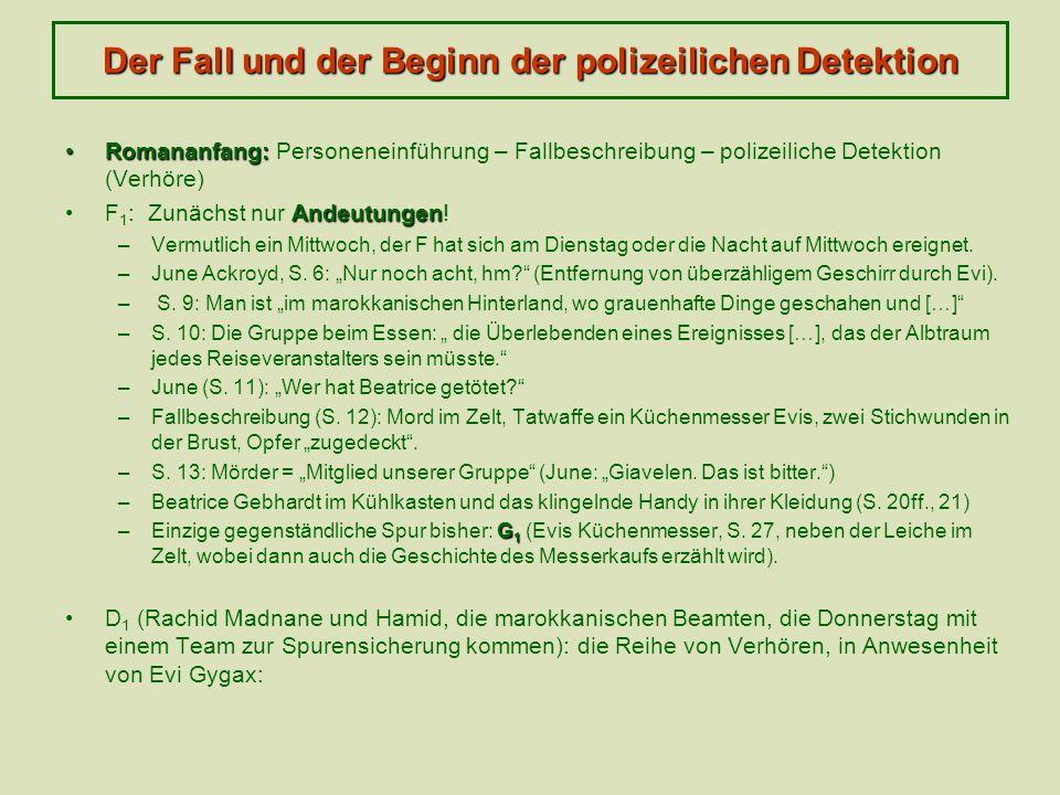 Der Fall und der Beginn der polizeilichen Detektion Romananfang:Romananfang: Personeneinführung – Fallbeschreibung – polizeiliche Detektion (Verhöre)