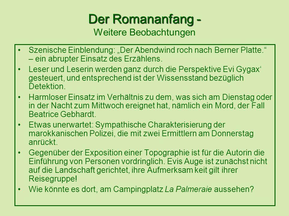 Der Romananfang - Der Romananfang - Weitere Beobachtungen Szenische Einblendung: Der Abendwind roch nach Berner Platte. – ein abrupter Einsatz des Erz