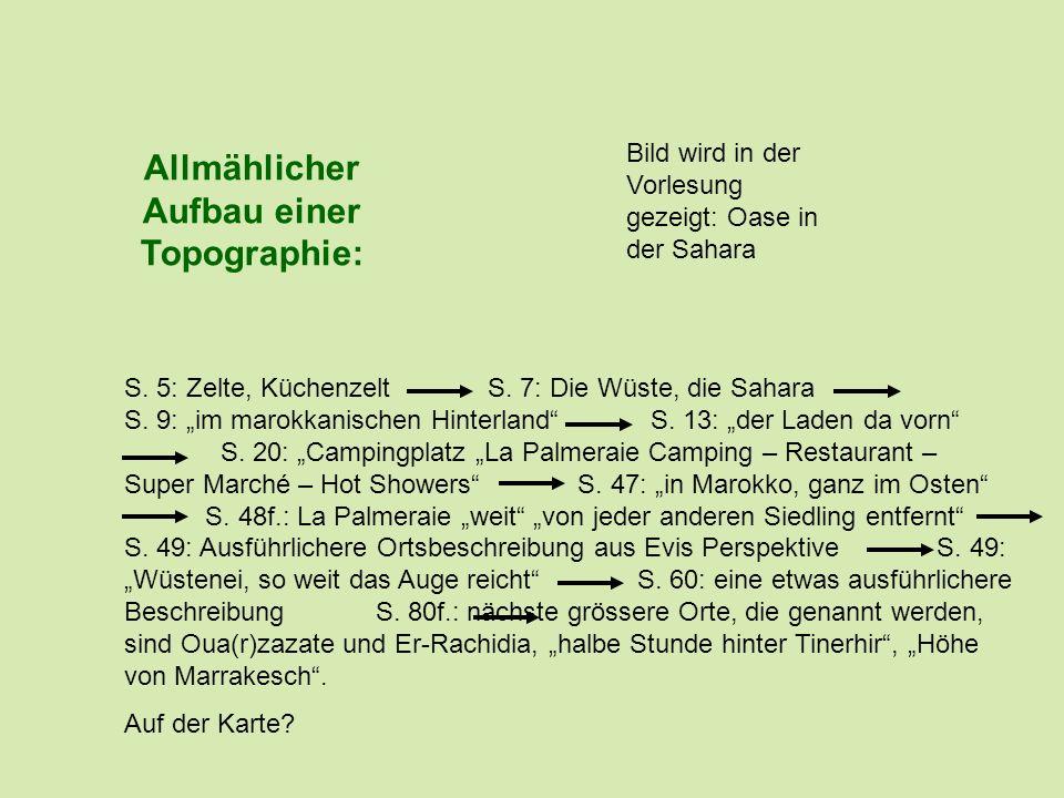Allmählicher Aufbau einer Topographie: S. 5: Zelte, Küchenzelt S. 7: Die Wüste, die Sahara S. 9: im marokkanischen Hinterland S. 13: der Laden da vorn