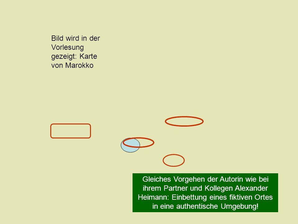 Gleiches Vorgehen der Autorin wie bei ihrem Partner und Kollegen Alexander Heimann: Einbettung eines fiktiven Ortes in eine authentische Umgebung! Bil