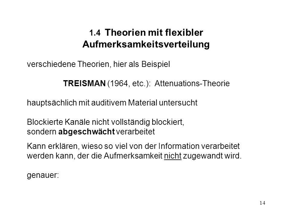 14 1.4 Theorien mit flexibler Aufmerksamkeitsverteilung verschiedene Theorien, hier als Beispiel TREISMAN (1964, etc.): Attenuations-Theorie hauptsäch
