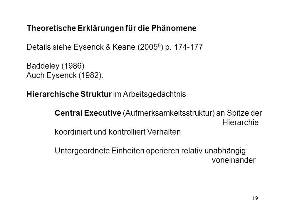 19 Theoretische Erklärungen für die Phänomene Details siehe Eysenck & Keane (2005 5 ) p. 174-177 Baddeley (1986) Auch Eysenck (1982): Hierarchische St