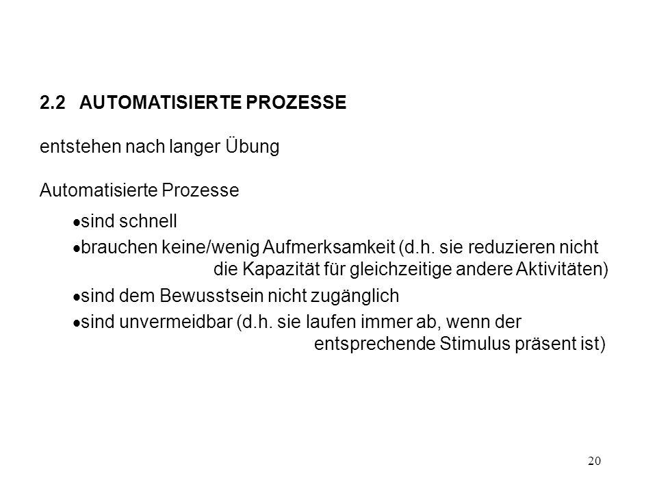 20 2.2 AUTOMATISIERTE PROZESSE entstehen nach langer Übung Automatisierte Prozesse sind schnell brauchen keine/wenig Aufmerksamkeit (d.h. sie reduzier
