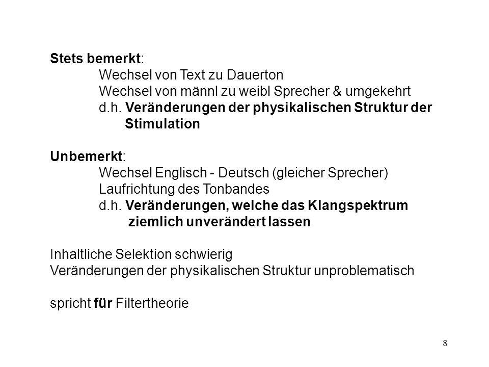 8 Stets bemerkt: Wechsel von Text zu Dauerton Wechsel von männl zu weibl Sprecher & umgekehrt d.h. Veränderungen der physikalischen Struktur der Stimu