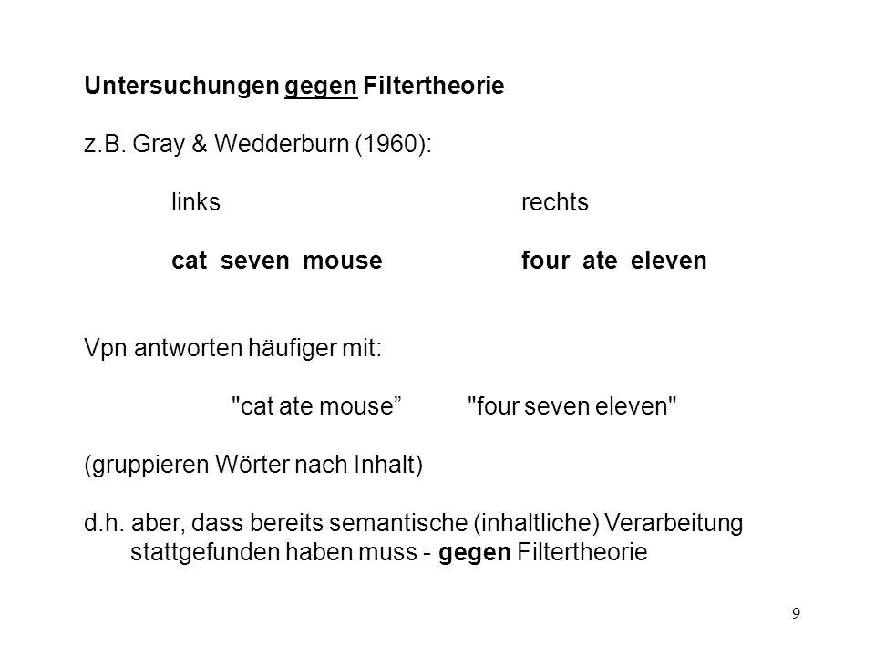 10 Von Wright, Anderson & Stenman (1975): Lernexperiment mit 2 Phasen: Konditioniergsphase - Testphase Konditioniergsphase: hautgalvanische Reaktion auf neutrales Reizwort (mit E-schock) Testphase: Prüfung der konditionierten (bedingten) Reaktion in selektiver Nachsprechaufgabe Unabhängige Variable (experimentelle Variation): im sekundären Text kommt vor: 1 das betreffende Reizwort 2 ein Wort akustisch ähnlich - Bedeutung anders 3 ein Wort akustisch verschieden - Bedeutung ähnlich