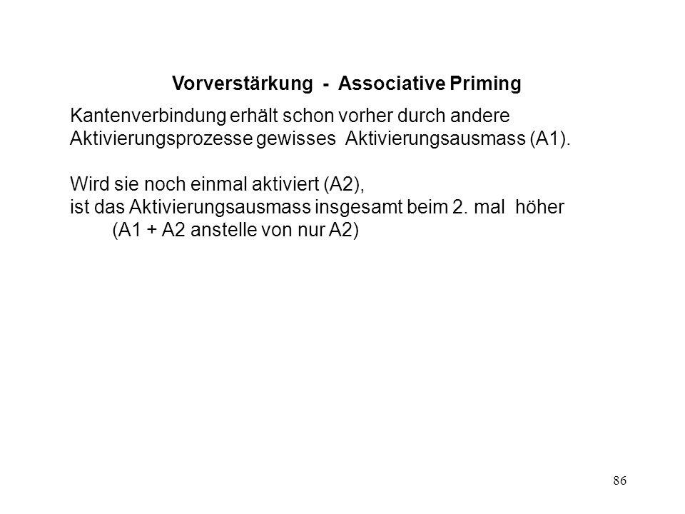 86 Vorverstärkung - Associative Priming Kantenverbindung erhält schon vorher durch andere Aktivierungsprozesse gewisses Aktivierungsausmass (A1). Wird