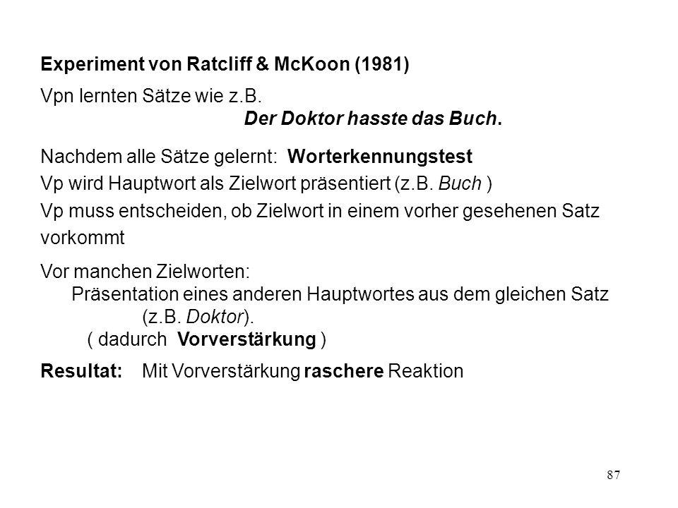 87 Experiment von Ratcliff & McKoon (1981) Vpn lernten Sätze wie z.B. Der Doktor hasste das Buch. Nachdem alle Sätze gelernt: Worterkennungstest Vp wi