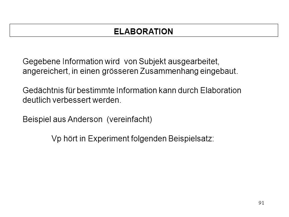 91 ELABORATION Gegebene Information wird von Subjekt ausgearbeitet, angereichert, in einen grösseren Zusammenhang eingebaut. Gedächtnis für bestimmte