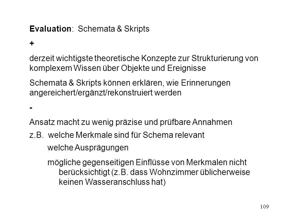 109 Evaluation: Schemata & Skripts + derzeit wichtigste theoretische Konzepte zur Strukturierung von komplexem Wissen über Objekte und Ereignisse Sche