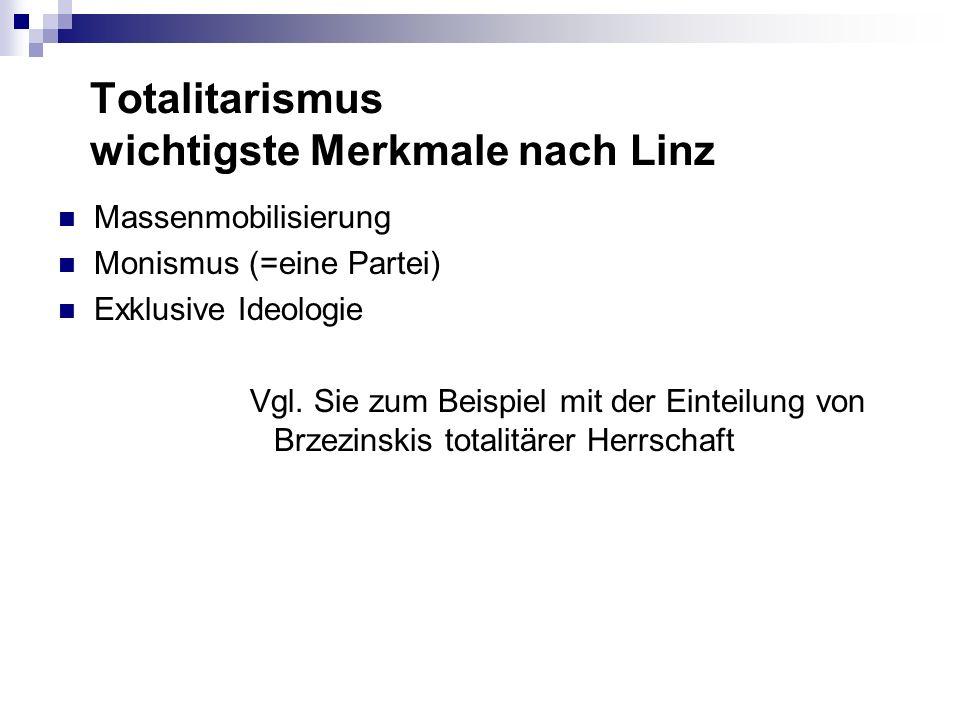 Totalitarismus wichtigste Merkmale nach Linz Massenmobilisierung Monismus (=eine Partei) Exklusive Ideologie Vgl. Sie zum Beispiel mit der Einteilung