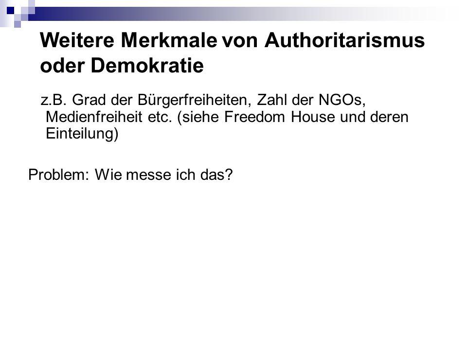 Weitere Merkmale von Authoritarismus oder Demokratie z.B. Grad der Bürgerfreiheiten, Zahl der NGOs, Medienfreiheit etc. (siehe Freedom House und deren