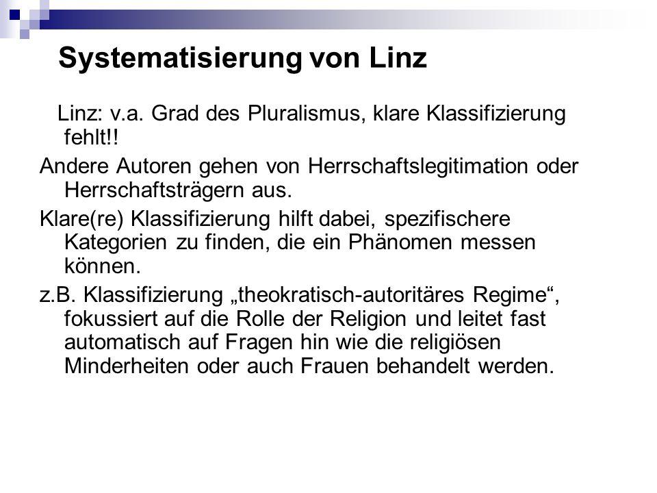 Systematisierung von Linz Linz: v.a. Grad des Pluralismus, klare Klassifizierung fehlt!! Andere Autoren gehen von Herrschaftslegitimation oder Herrsch