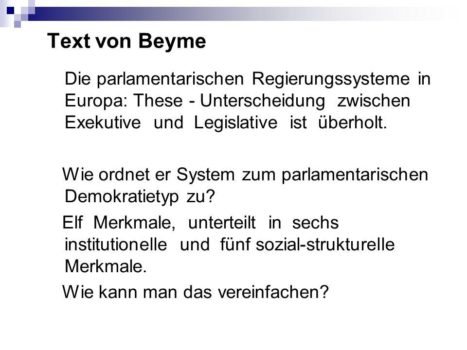 Text von Beyme Die parlamentarischen Regierungssysteme in Europa: These - Unterscheidung zwischen Exekutive und Legislative ist überholt. Wie ordnet e
