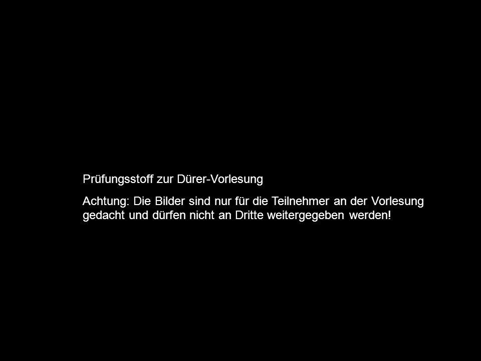Prüfungsstoff zur Dürer-Vorlesung Achtung: Die Bilder sind nur für die Teilnehmer an der Vorlesung gedacht und dürfen nicht an Dritte weitergegeben we